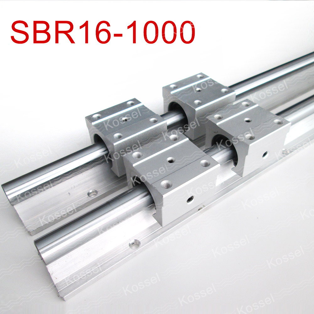 2pcs SBR16  1000mm linear guide + 4pcs SBR16UU block for cnc parts 2pcs sbr16 250mm linear guide 4pcs sbr16uu block cnc router