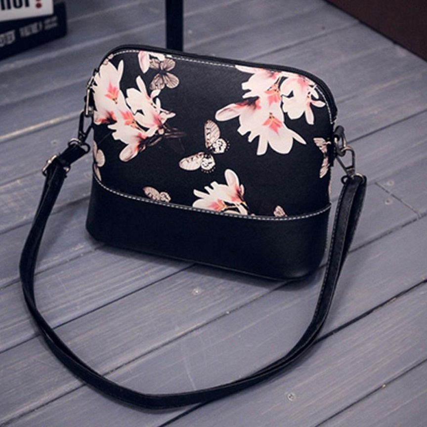 7b1fb4f2ac7 2017 Butterfly Wrist Watch Women Messenger Bags New PU Leather Handbag Women  Flower Prints Shoulder Bag drop shipping-in Top-Handle Bags from Luggage    Bags ...