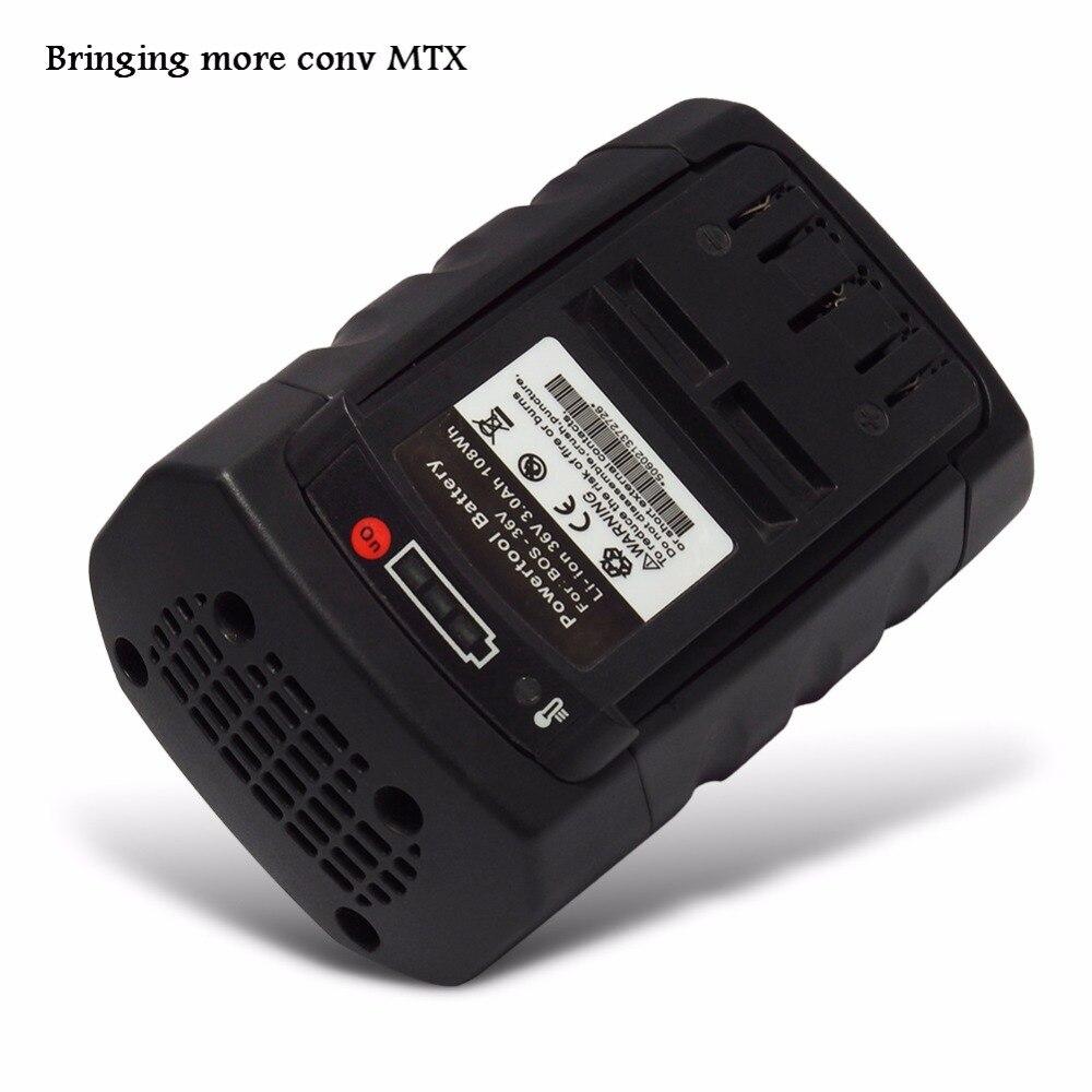 Replacement 36V 3000mAh Li-Ion Power Tool Battery For Bosch: BAT810,BAT837, 11536C,D-70771,1651K,2607336107 with Import cells power tool battery b&d 36v li ion 3000mah lbx36 lbxr36 bxr36 lst136 lst420 lst220 lst400 lst300 mtc220 mst1024 mst2118 cst1200