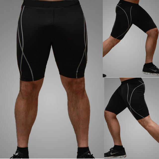 New Brand Mens Leggings Quick Dry shorts Drill Compression Wear Tights Fitness Trousers for Men Black