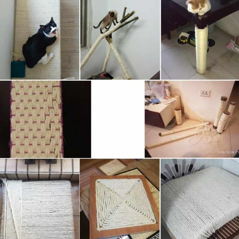 3 M/5 M 5M naturalny sizal liny trwałe DIY dokonywanie krzesło biurowe nogi drapak dla kota zabawki Bingding materiał dla kota wyostrzyć pazur