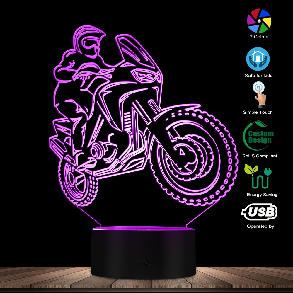 Motorbike Rider 3D Optical Illusion Night Light Motorcycle Dirt Bike LED Light Modern Wall Lamp Freestyle Motorcross Table Lamp