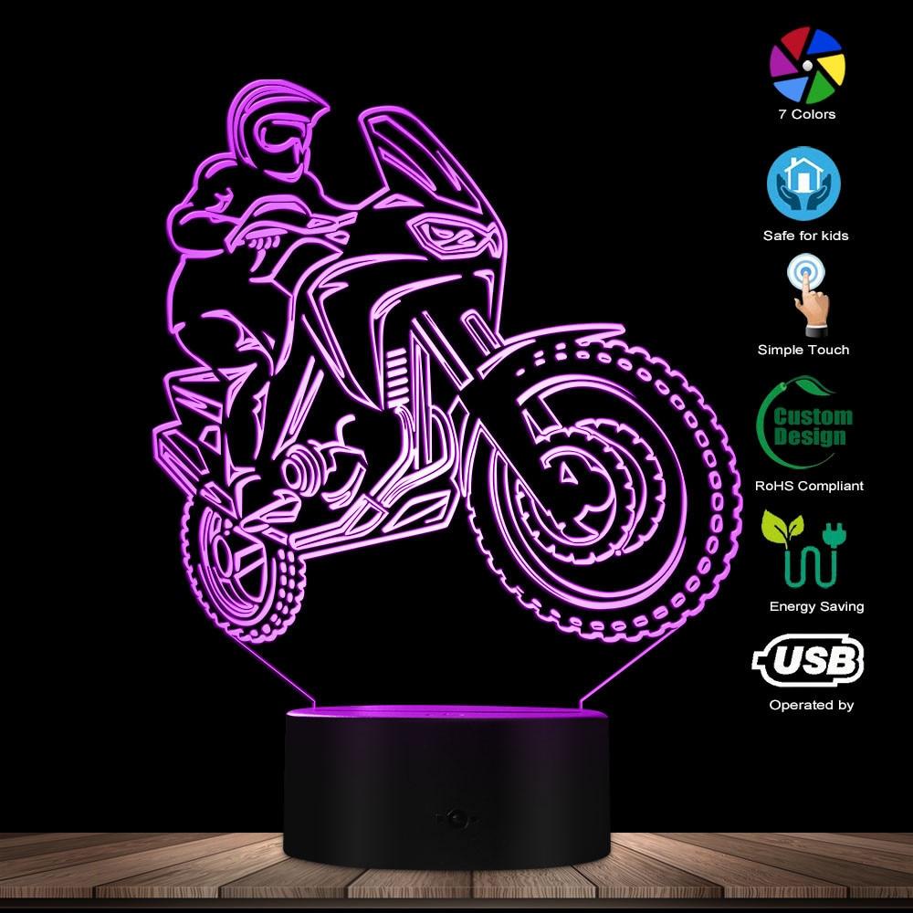 Motorbike Rider 3D Optical Illusion Night Light Motorcycle Dirt Bike LED Light Modern Wall Lamp Freestyle Motorcross Table Lamp