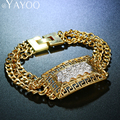 AYAYOO Jewelry For Women Vintage Bracelets Bangles Stamp Trendy Gold Plated Unique Round Chain & Link Charm African Accessories