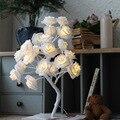 9Pig 24 светодиодный LED белое с розовыми розами цветок прикроватная спальня ночник настольная лампа домашний декор модель дерева Рождество Свадебная вечеринка - фото