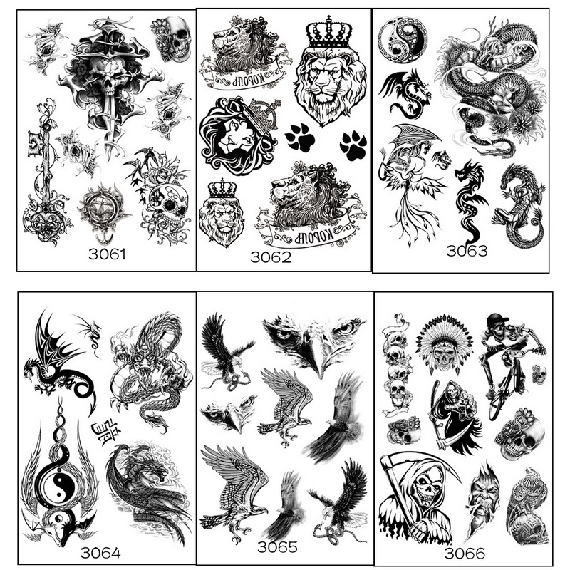 6 sheets multi style fashion cool temporary tattoo with tiger lion skull owl eagle halloween party color fake tattoos stickers