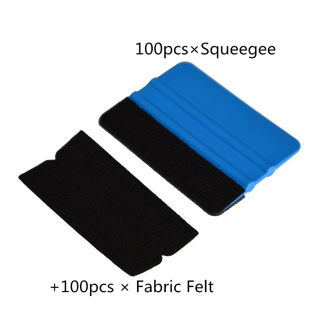 EHDIS 100pcs Plastic Squeegee+100pcs Fabric Felt Vinyl <font><b>Car</b></font> Wrap Tool Window Tint <font><b>Car</b></font> Cleaning Tools Sticker Glue Remove Scraper image
