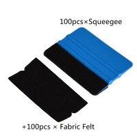 EHDIS 100pcs Plastic Squeegee+100pcs Fabric Felt Vinyl Car Wrap Tool Window Tint Car Cleaning Tools Sticker Glue Remove Scraper