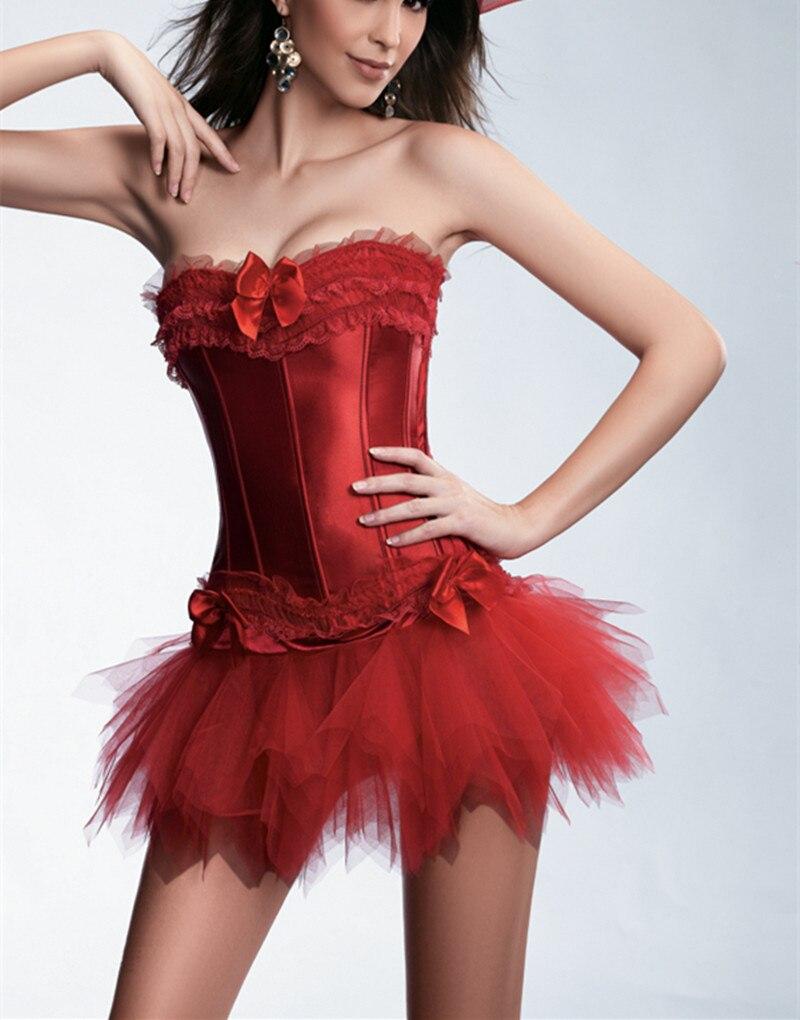 New Sexy Gothic Satin Lingerie Lace   Corset   + G-string + Skirt   Bustier   Mini Tutu Wedding Dress Costume Black   Corset   S-6XL
