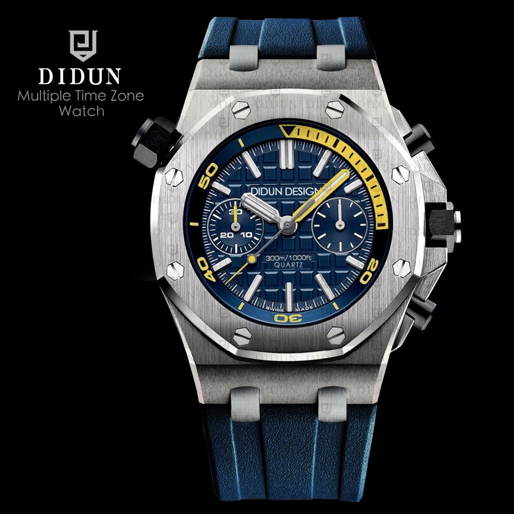 DIDUN Mens Watches Top Brand Luxury Watch men Sports Diver Watches Military Quartz WristWatch Water Resistant Clock Men