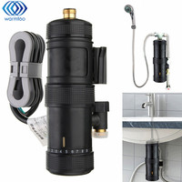 Instant Heating Electric Hot Water Heater Temperature Adjustable Bathroom Bath Shower Tap Basin Mixer Faucet 5500W