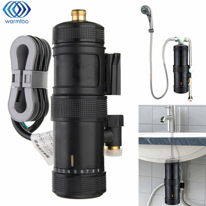 Instant Heating Electric Hot Water Heater Temperature Adjustable Bathroom Bath Shower Tap Basin Mixer Faucet 5500W