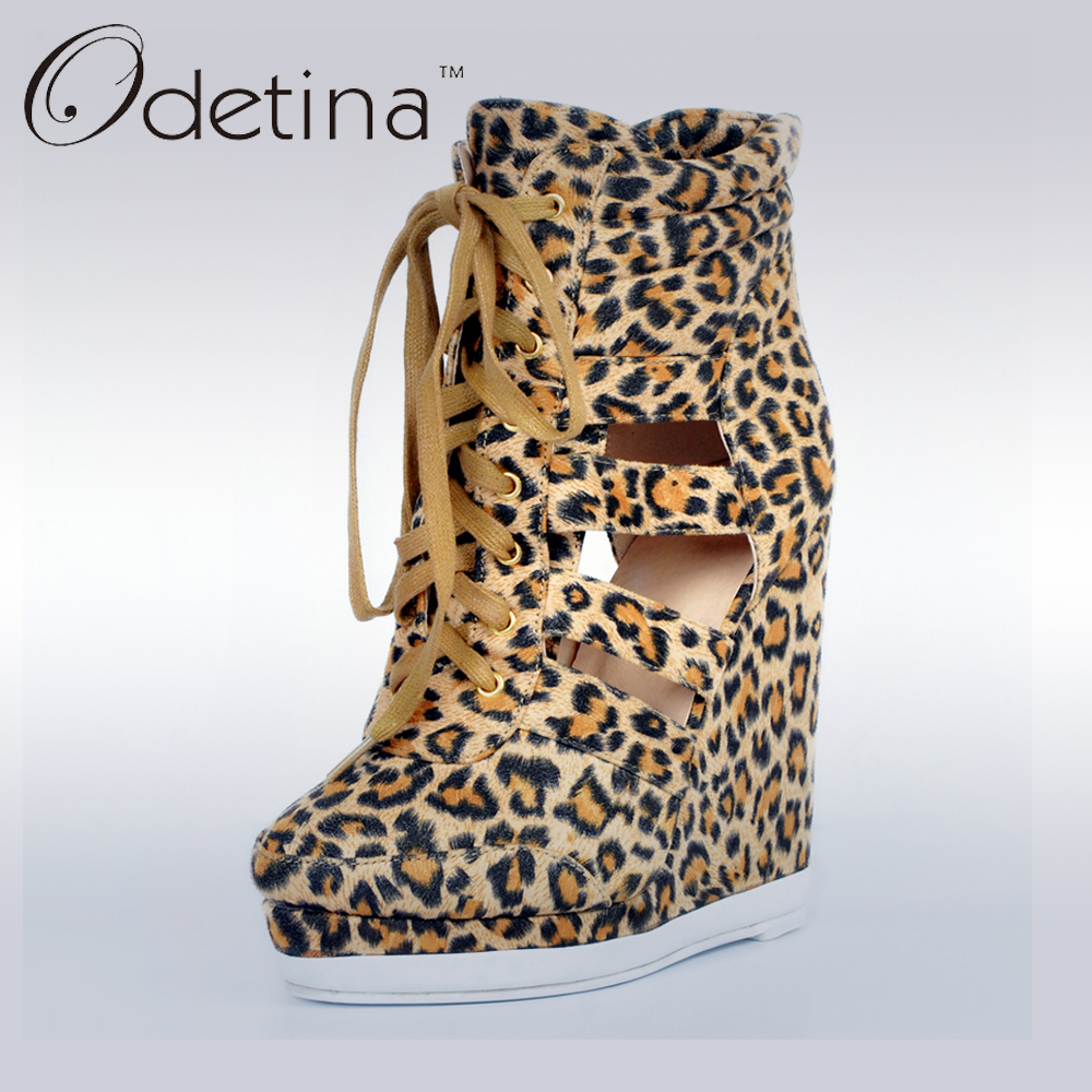 ФОТО Odetina 2017 Brand New Women High Heel Leopard Wedge Ankle Boots Cut Outs Summer Woman Shoes Platform Lace Up Booties Ladies