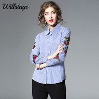 Willstage Rose Embroidery Blouse Women Striped Floral Printed Shirts Long Sleeve Blusa White Clothes 2018 Spring