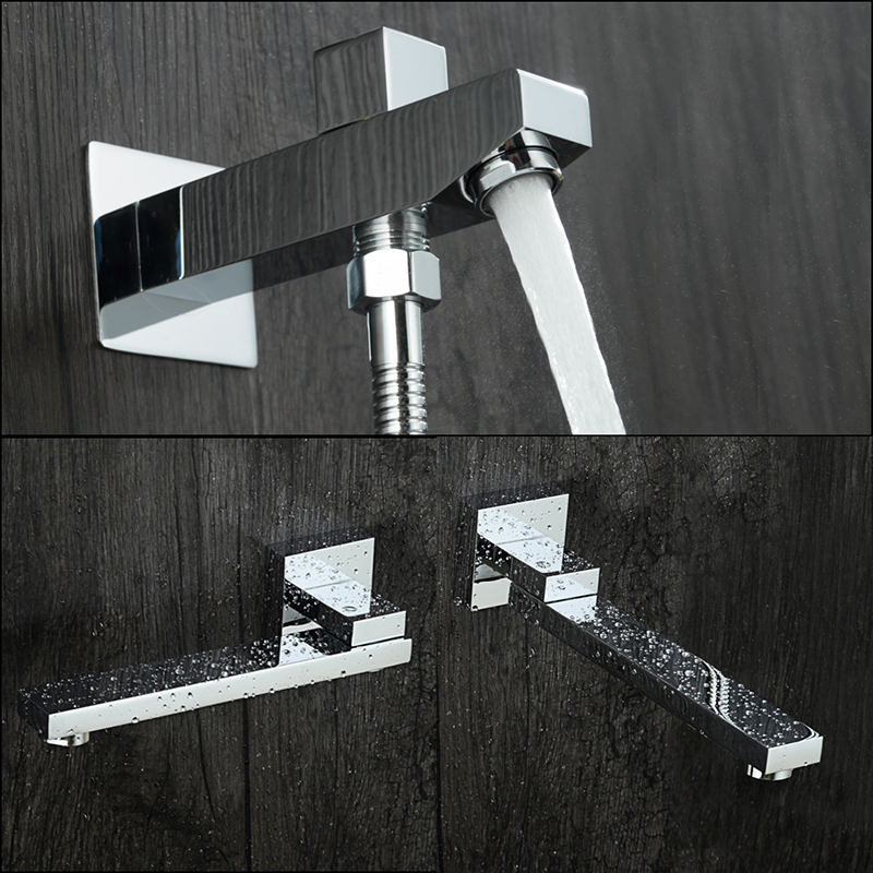 Bathroom Shower Spout Faucets Brass Bath Spout Taps Chrome Finished Water Nozzle In wall Bibcocks Square Shower Accessories