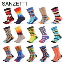 SANZETTI men's combed cotton socks casual tube socks colorful dress striped plai