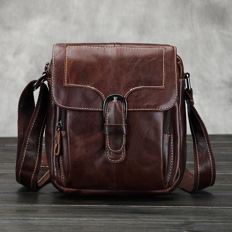e83eb485f168 Genuine Leather Men Bag Men Leather Vintage Crossbody Real Leather  Messenger Bag For Man Small Business Bags Shoulder Handbags