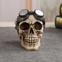 Creative Design Halloween Resin Handicraft Human Head Skull Simulation Skull Shaped Home Bookroom Decoration Skull Craft
