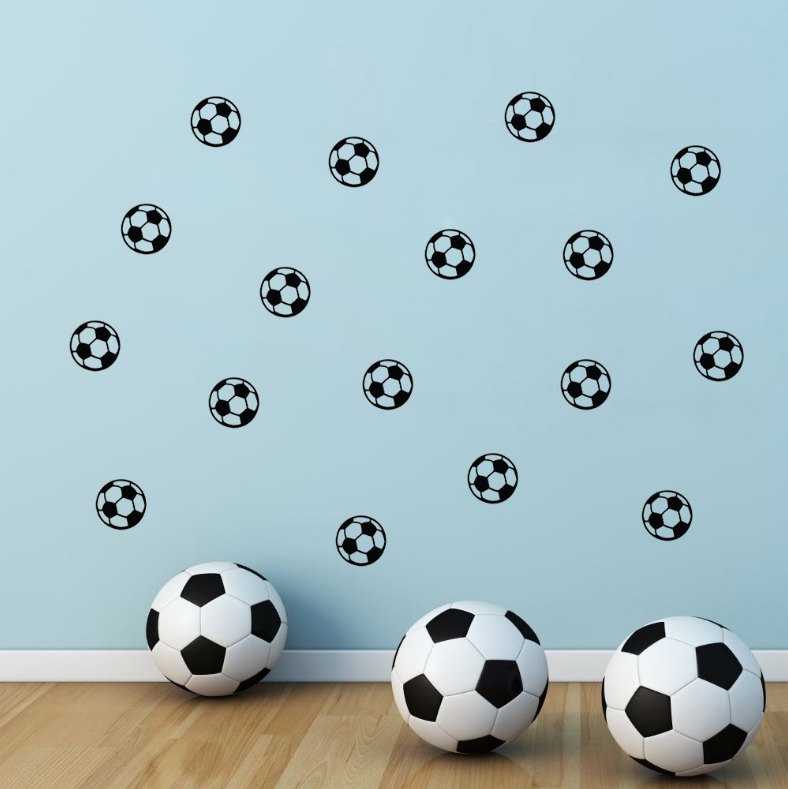 Diy football soccer home decals wall stickers for kids for Sports decals for kids rooms