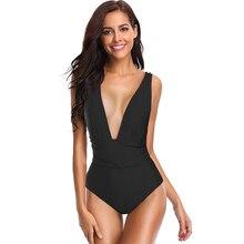 цена New Sexy Deep V Swimsuit Women One Piece Swimsuit Solid Color Bathing Suit S-L Girl Ruffle Monokini Backless One Piece Swimwear онлайн в 2017 году