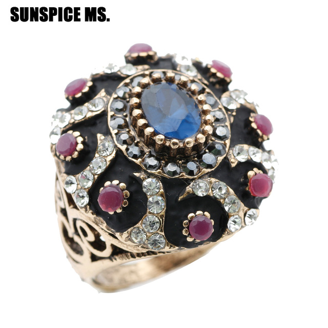 SUNSPICE MS. Turkish Antique Rings For Women Gold Color Vintage ...