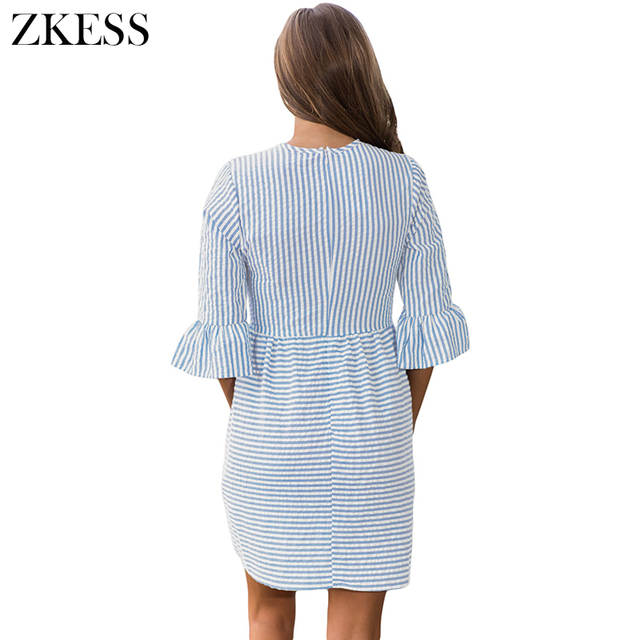 36fd54895a US $21.14 |ZKESS White Striped Seersucker Women Skater Dress Pleated  Flounce 3/4 Sleeved Brief Autumn Fashion Sweet Style LC220092-in Dresses  from ...