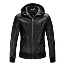 Free shipping new High quality new Spring Fashion Hooded men coat men's leather jacket Brand motorcycle leather jackets M-XXXL