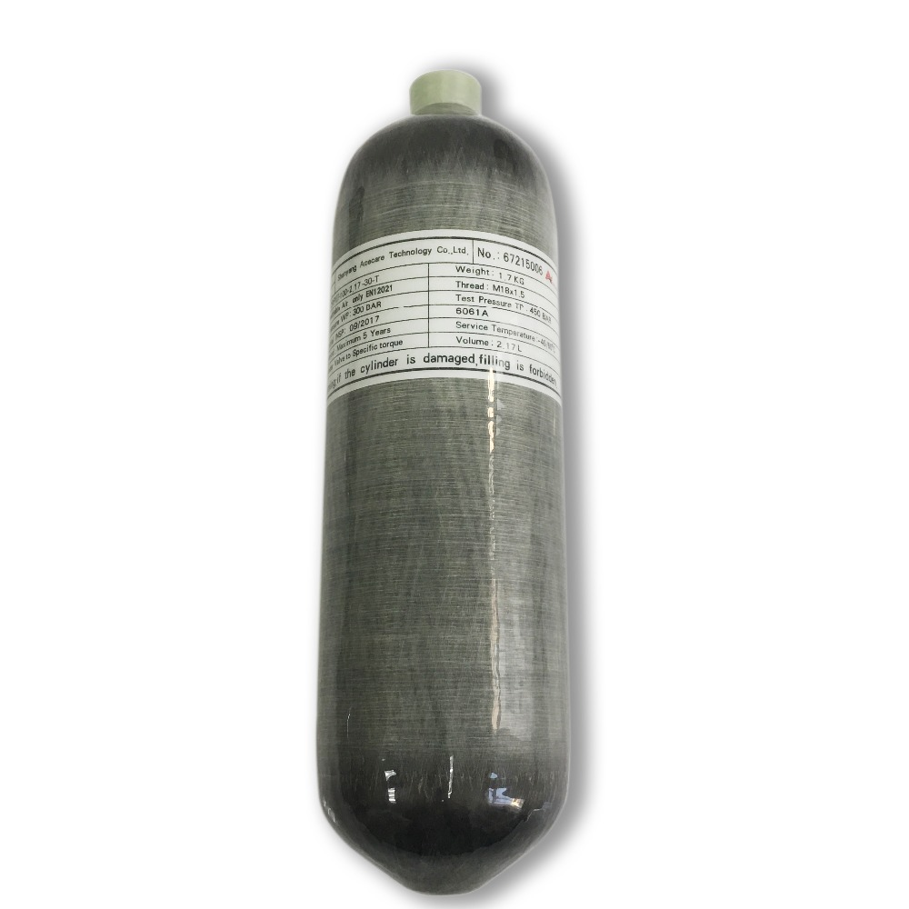 AC1217 New 2.17L CE 300bar 4500psi High Pressure Cylinders Gas Bottle Carbon Fiber Scuba Tank For Airgun  Drop Shipping Acecare