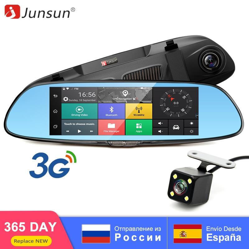 "Junsun 3 グラム 7 ""車 DVR ミラーカメラアンドロイド 5.0 wifi Gps フル HD 1080P ビデオレコーダーデュアルレンズカメラレジストラ後姿 dvr ダッシュカム  グループ上の 自動車 &バイク からの DVR/ダッシュカメラ の中 1"