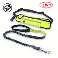 Hand Free Elastic Dog Leash Adjustable Padded Waist Reflective Running Jogging Walking Pet Lead Belt With