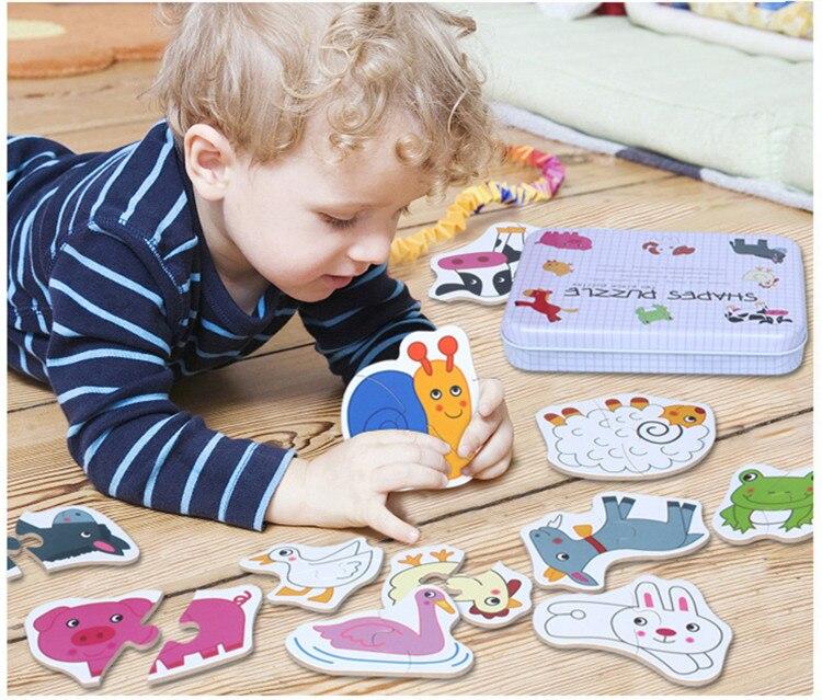 Juguetes para bebés caja de hierro infantil cabeza temprana entrenamiento rompecabezas tarjeta cognitiva vehículo/fruta/conjunto de animales par rompecabezas regalo educativo