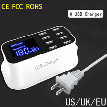 Evewher LCD 8 USB Ports Multi Charger EU US UK Adapter 150CM Charging Cable Indicator