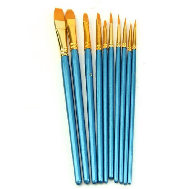 10 unids/set artistas pincel Set acrílico acuarela punta redonda Punta de nailon azul