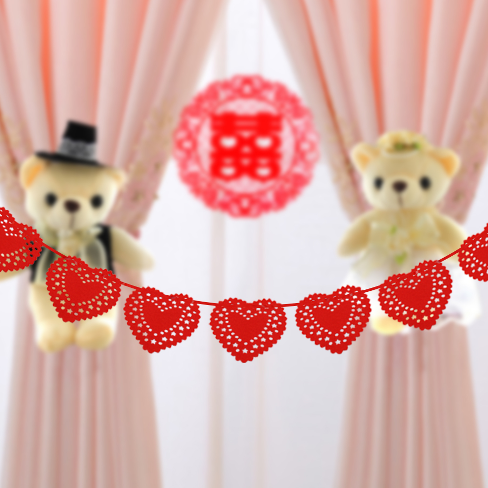 3m Romantic wedding decoration red heart banners Engagement backdrop hanging decorations party DIY decorations supplies blusa sexi animal print