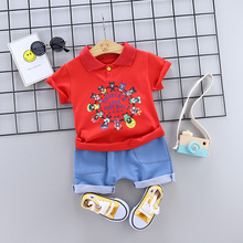 Children Boys Summer Clothing Sets 2019 Toddler Boys Clothes T-shirt+Shorts Jeans for Boys Sport Suits Outfits Tracksuit 1 2-4T cheap AIQINGSHA Fashion Cotton ModaL Unisex Cartoon Square Collar Regular ls-3 Single Button Fits true to size take your normal size