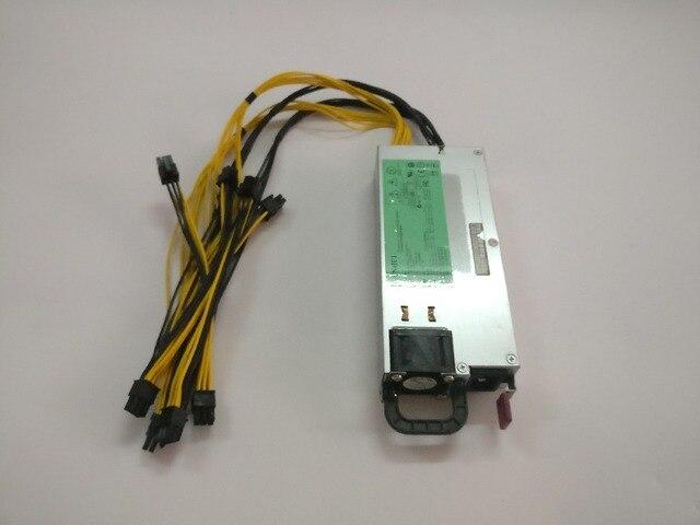 Frete grátis BTC LTC mineiros para o poder, tamanho ultra-pequeno, baixo nível de ruído, 1200 w 12 V 100A saída. incluindo 8 PICE 6 P conector YUNHUI