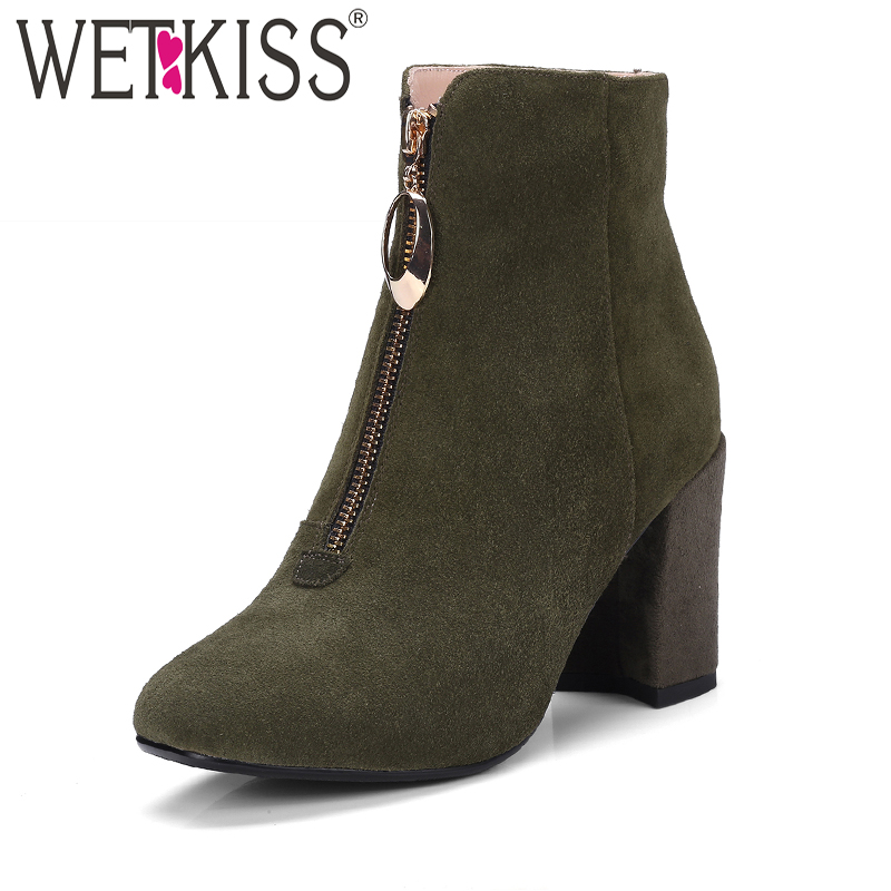 WETKISS Shoes Women Designers Front Zip Ankle Boots Women's Winter Boots Autumn Genuine Leather Suede Ladies Shoes High Heels wetkiss elegant floral appliques ankle boots brand designers winter boots super high heels women shoes genuine leather footwear