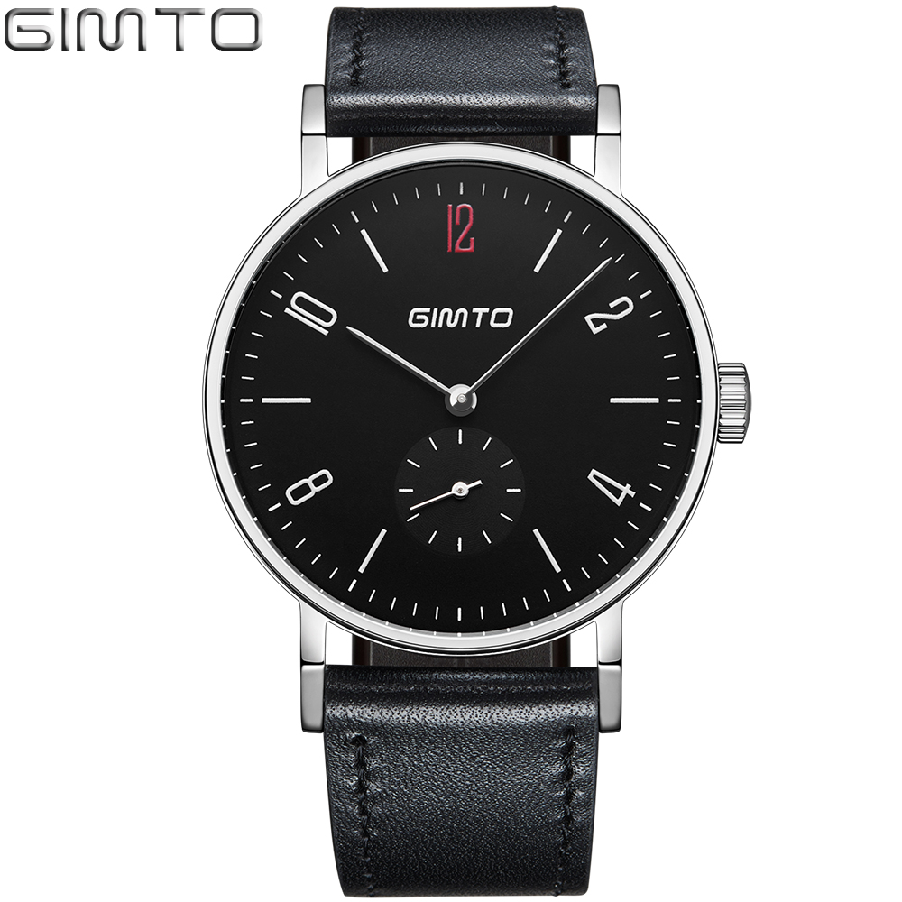 GIMTO Black Mens Watches Antique Brand Luxury Analog Quartz Business Watch Men Clock Leather Male Dress Wristwatch Reloj Hombre 2017 men xinge brand business simple quartz watches luxury casual leather strap clock dress male vintage style watch xg1087