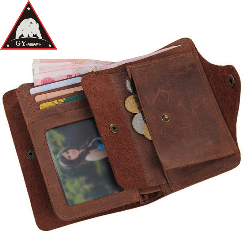 купить ANAPH Cow Leather Wallet For Men Short Style ID Holders Crazy Horse Credit Card Case RFID Blocking Bifold Coin Purse For Women дешево