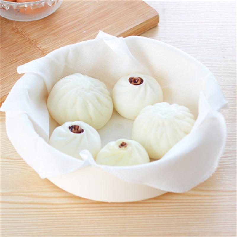 Cotton Non-stick Steamer Mat Round Steamed Cloth Steamed Buns Filter Cloth Kitchen Supplies Cooking Kitchen Accessories
