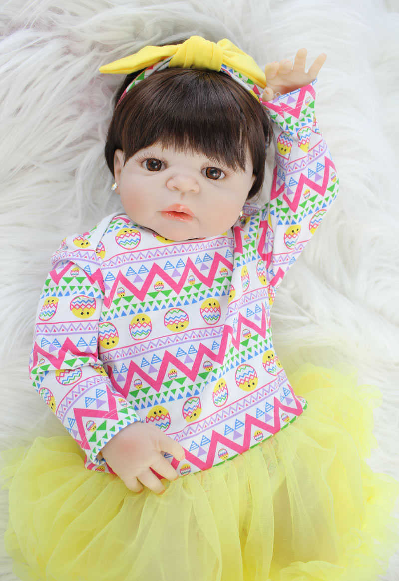 55cm Full Silicone Reborn Alive Baby Doll Toy 22'' Vinyl Bebe Newborn Princess Babies With Earring Girl Bonecas Kids Bathe Toy