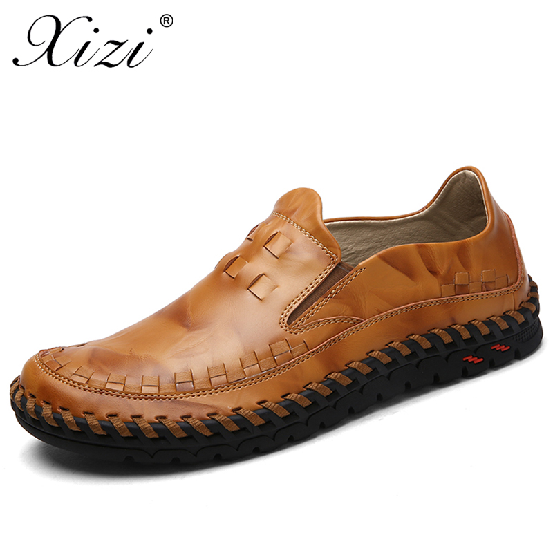 XIZI Brand Men's Genuine Leather Casual Shoes Handmade Slip-On Loafers For Male fashion Black Waterproof Flat Driving Shoe Flats dxkzmcm genuine leather fashion mens casual shoes cowhide driving moccasins handmade slip on loafers