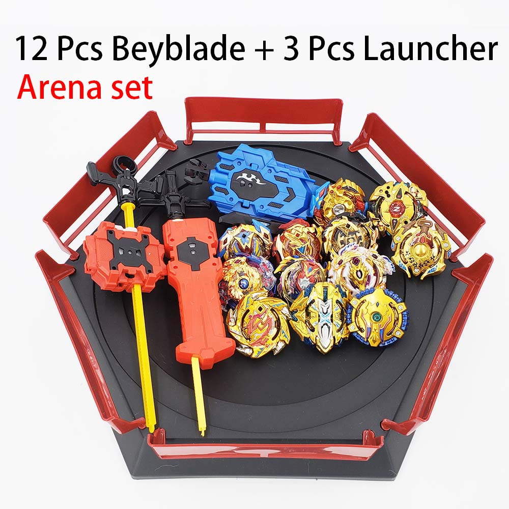 12pcs//set Metal Fusion Burst Spinning Top Launcher Toy with Suitcase White