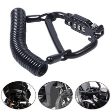 Bike Cable Lock Retractable Motorcycle Helmet Anti-theft Lock Mountain Bike Spring Reminding Cable Climbing Hook Anti-lost Lock