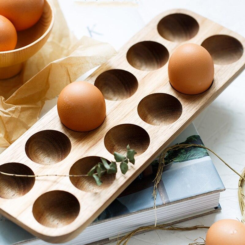 Wooden Double Row Egg Storage Box Home Organizer Rack Eggs Holder Kitchen Decor Accessories 3