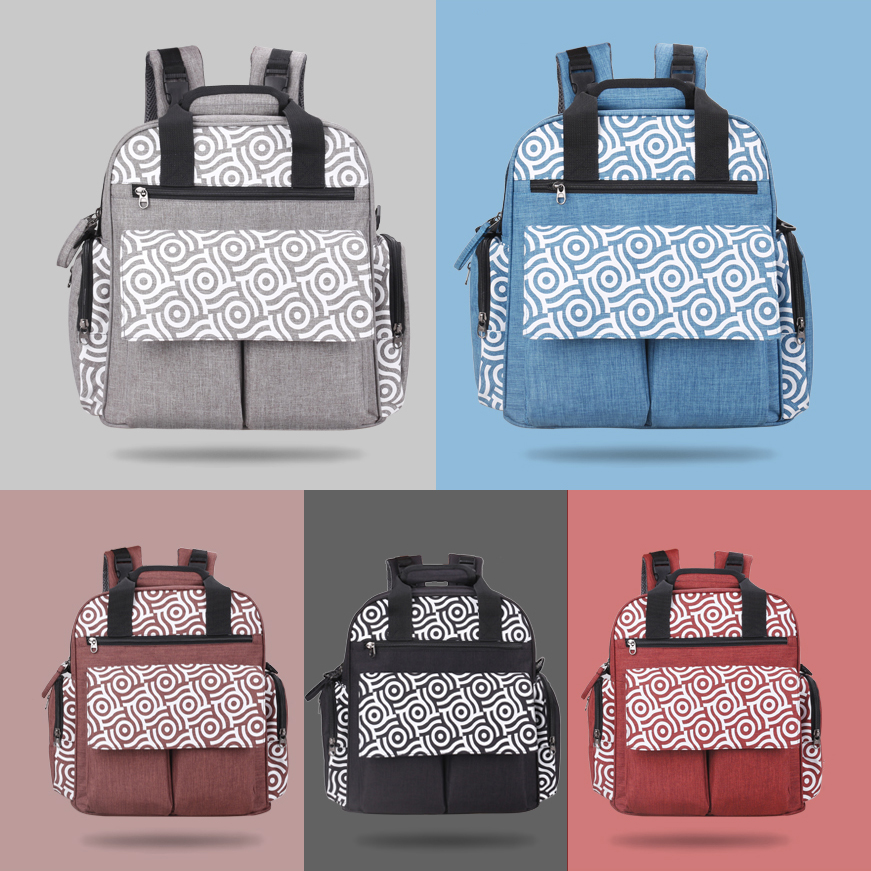Designer mother baby diaper bag backpack bags waterproof changing mummy maternity nappy bag for stroller accessories organizer (Gray)