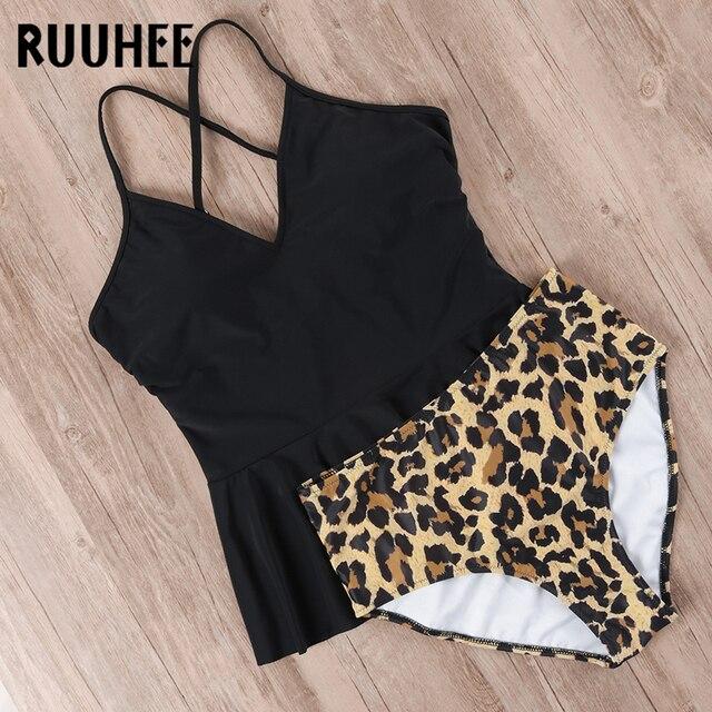 RUUHEE Bikini 2019 Swimsuit Swimwear Women High Waist Tankini Bikini Set Push Up Bathing Suit Women Beachwear Plus Size Swimwear 6