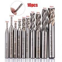 10 sztuk 4 flet prosto Shank frez trzpieniowy zestaw HSS frezowanie CNC nóż do drewna plastikowe cięcie aluminium narzędzia 2 10mm