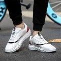 Новые Осень Кожаные Кроссовки для мужчин Спортивные shoes Платформа кроссовки Мужские Теннисные Shoes Белые Кроссовки 39-44