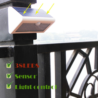 38LEDS Solar Lilght Motion Sensor 4400MAH Battery Waterproof Anti UV ABS Light Control Outdoor Wall Light